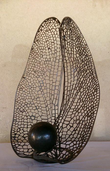 Sculpture libellule métal, ferronnerie